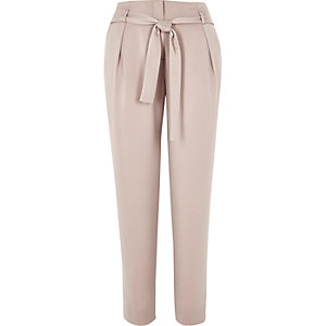 Pink soft tie waist tapered trousers