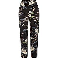 Black floral print pants