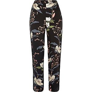 Black floral print pajama pants