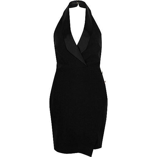 Black wrap tux dress