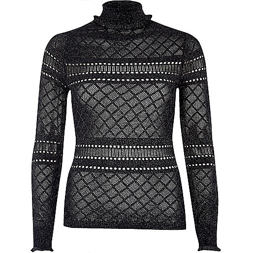 Dark blue pointelle knit ruffle trim sweater