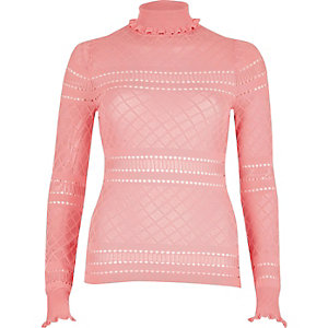 Pink pointelle knit ruffle trim sweater