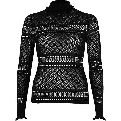 Black pointelle knit ruffle trim sweater