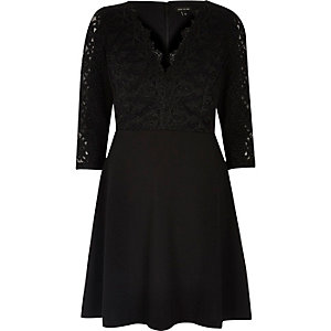 Black luxury lace flared dress