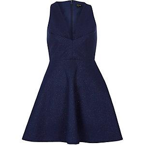 Metallic blue plunge sparkly dress