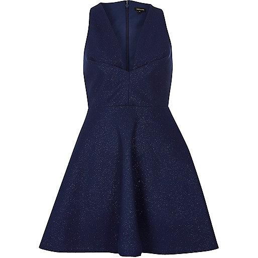 Metallic blue plunge skater dress