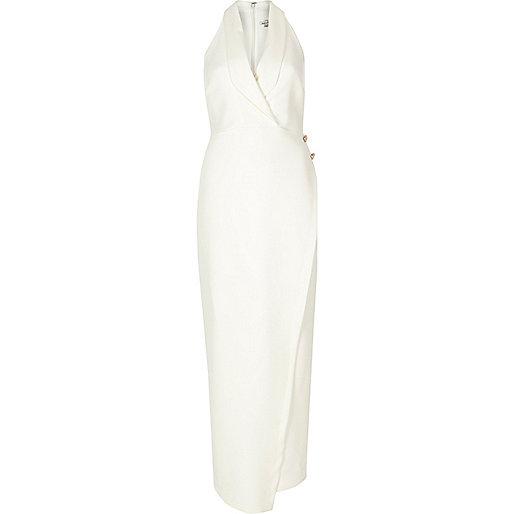 White tuxedo maxi dress