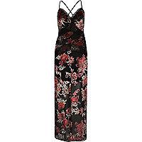 Robe longue motif roses noire avec empiècements en dentelle