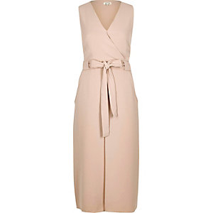 Nude layered wrap dress