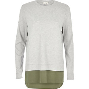 Grey contrast hem long sleeve T-shirt