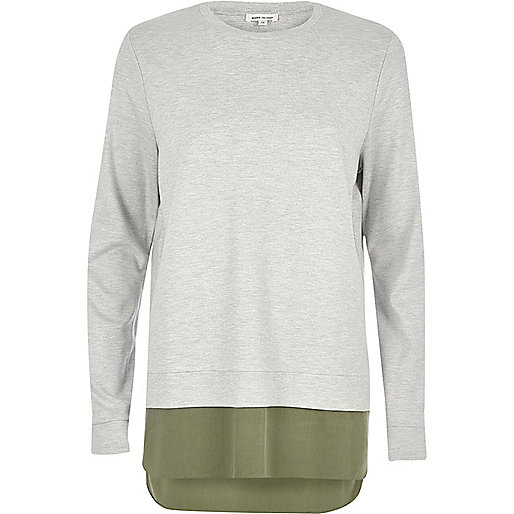 Grey contrast hem long sleeve T-shirt