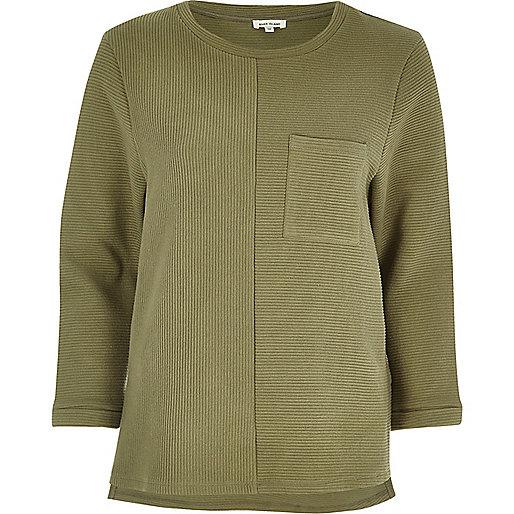 Khaki ribbed pocket top