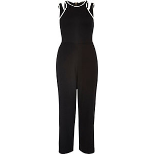 Black cut-out jersey jumpsuit