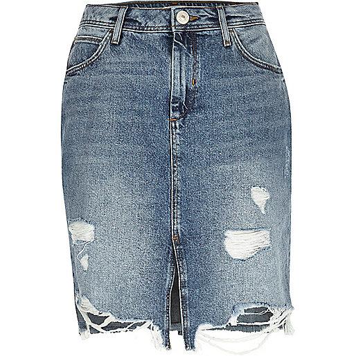 Mid blue wash ripped denim midi skirt