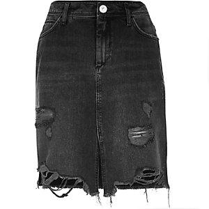 Black washed ripped denim midi skirt