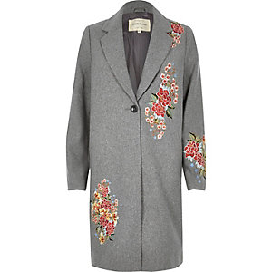 Grey floral embroidered wool blend overcoat