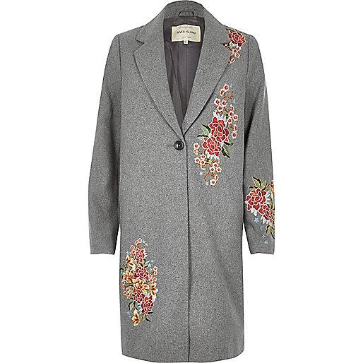 Manteau en laine mélangée gris avec fleurs brodées