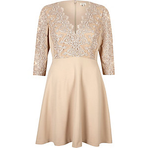 Nude plunge lace skater dress