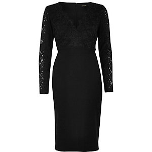 Black lace plunge bodycon dress