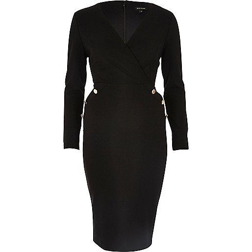 Black military button wrap dress