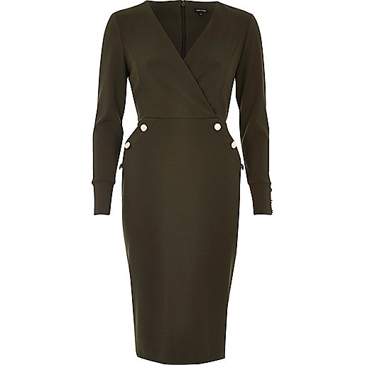 Khaki green military button wrap dress