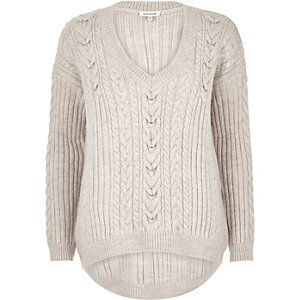 Stone cable knit jumper