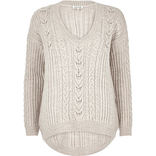 Stone cable knit sweater
