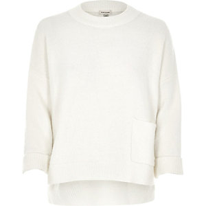 White oversized pocket boxy grazer sweater