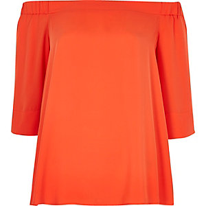 Oranges Bardot-Oberteil
