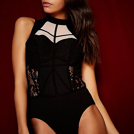 RI Studio black lace mesh bodysuit