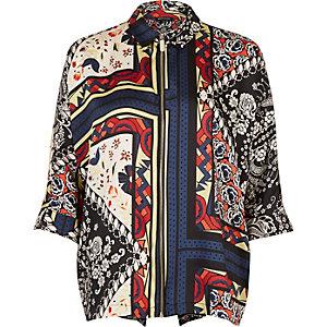 Red print zip shirt