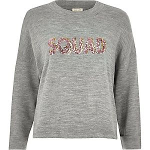 Grey knit 'Squad' sequin jumper