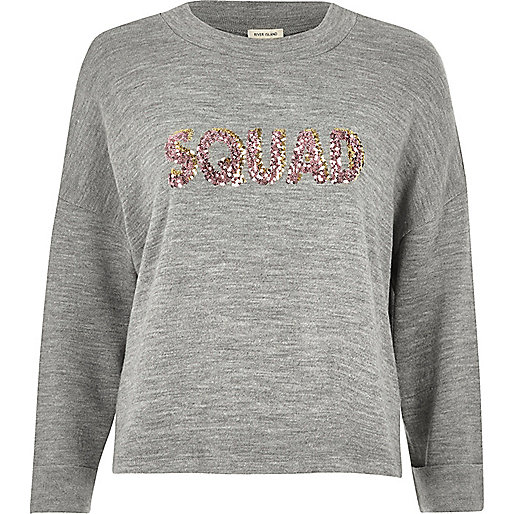 Grey knit 'Squad' sequin jumper