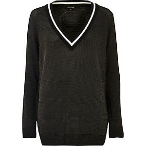 Black sheer knit cricket sweater