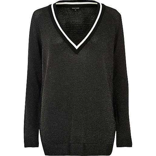 Black sheer knit cricket jumper