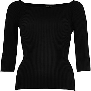 Black ribbed open neck top
