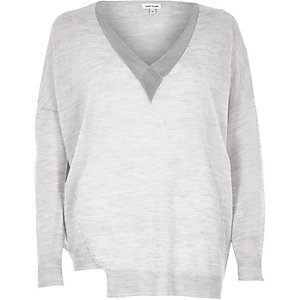 Grey V-neck panel sweater
