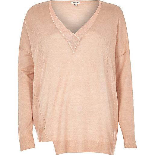 Pullover mit V-Ausschnitt in Rosé