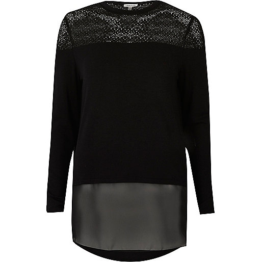 Black lace and mesh panel top