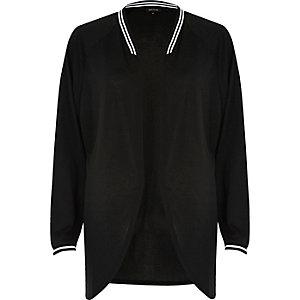 Black sporty trim open cardigan