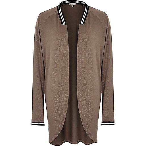 Brown metallic long sleeve cardigan