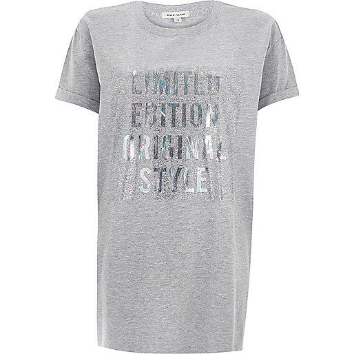 T-shirt boyfriend imprimé gris métallisé