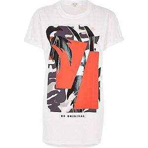 White print boyfriend fit t-shirt