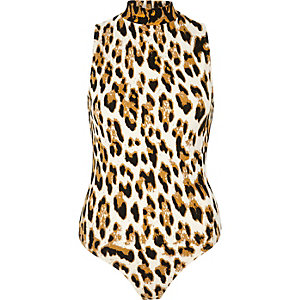 Brown animal print turtleneck bodysuit