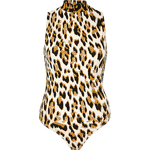 Brown animal print turtleneck bodysuit