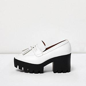 White chunky heeled loafers