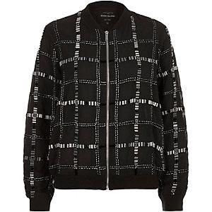 Black embellished bomber jacket