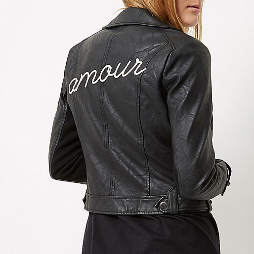 Black 'amour' embroidered biker jacket