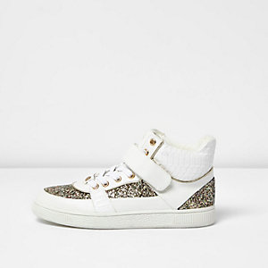 White glitter panel hi tops