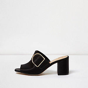Black satin buckle mules